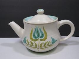 Franciscan Tulip Time Flower Tea Pot Dinnerware Vintage Blue Green - $41.58