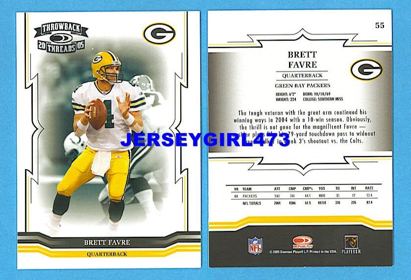 Brett Favre 2005 Donruss Throwback Threads Green Bay Packers Football Card #55