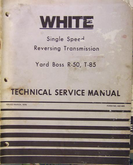White Yard Boss R-50, T-85 Riding Mowers - Transmission Service Manual
