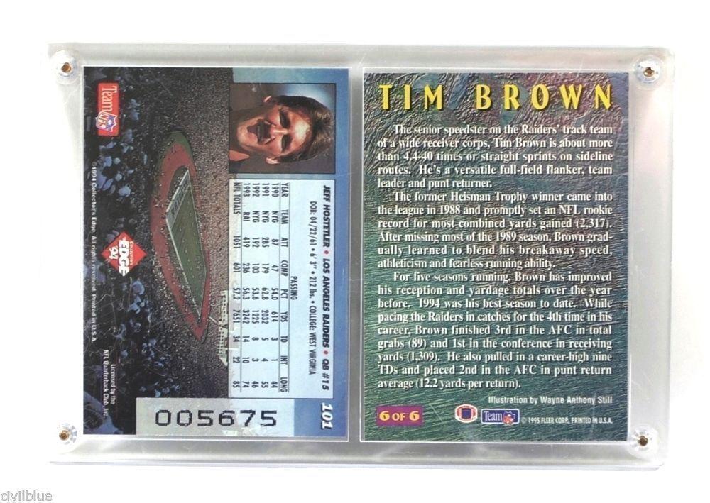 NFL Sports Plaque 2 Cards Brown Hostetler Raiders '94-95 Collector's Edge Fleer