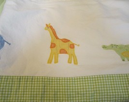 one Pottery Barn Kids Gingham animals curtain panel 84 x 44 pole top - $29.65
