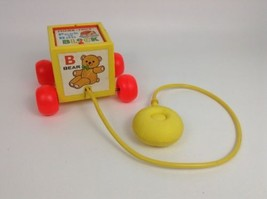 Fisher Price #760 Peek-A-Boo Block Pop-up Pull Toy Vintage 1970 - $14.21