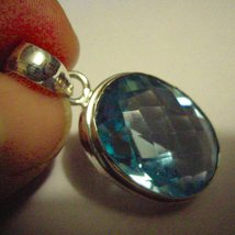 Sterling Silver Pendant Blue Topaz - $39.50