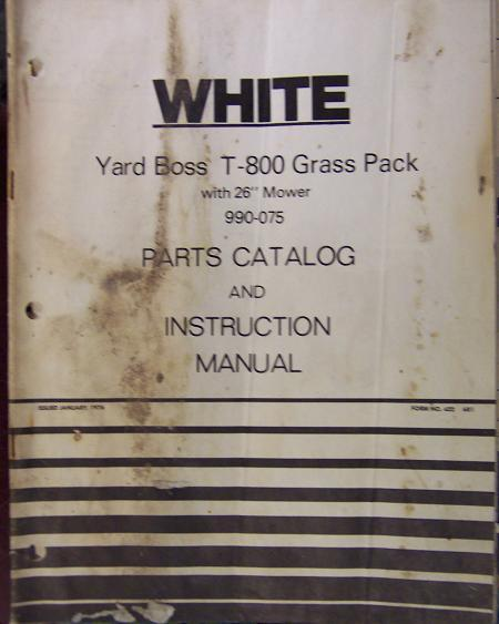 White T-800 Yard Boss Grass Pack Mower/Bagger Combo - Operator/Parts Manual