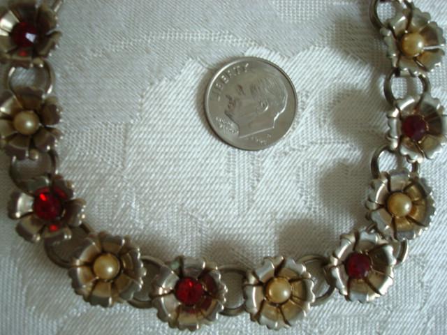 Vintage Necklace ~ Choker ~ Silver-tone Flowers ~ Red Rhinestones ~ Imitation Pe