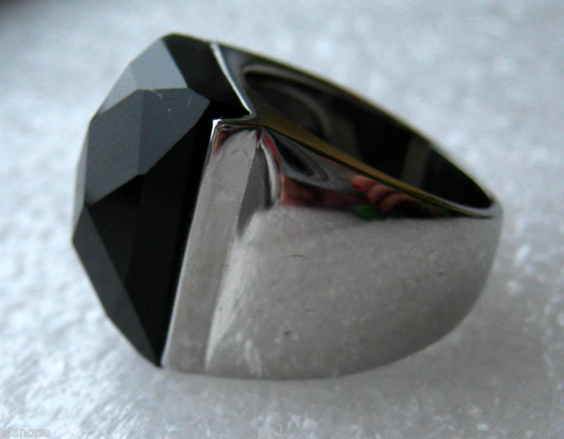 Black Onyx Stainless Steel Ring 7+ Carats
