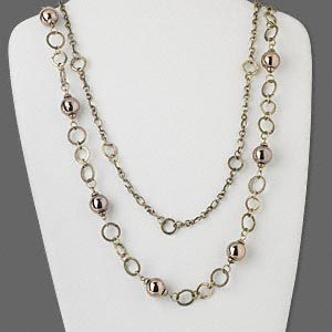 Dark Copper Antiqued Steel & Acrylic Chain Necklace 38""
