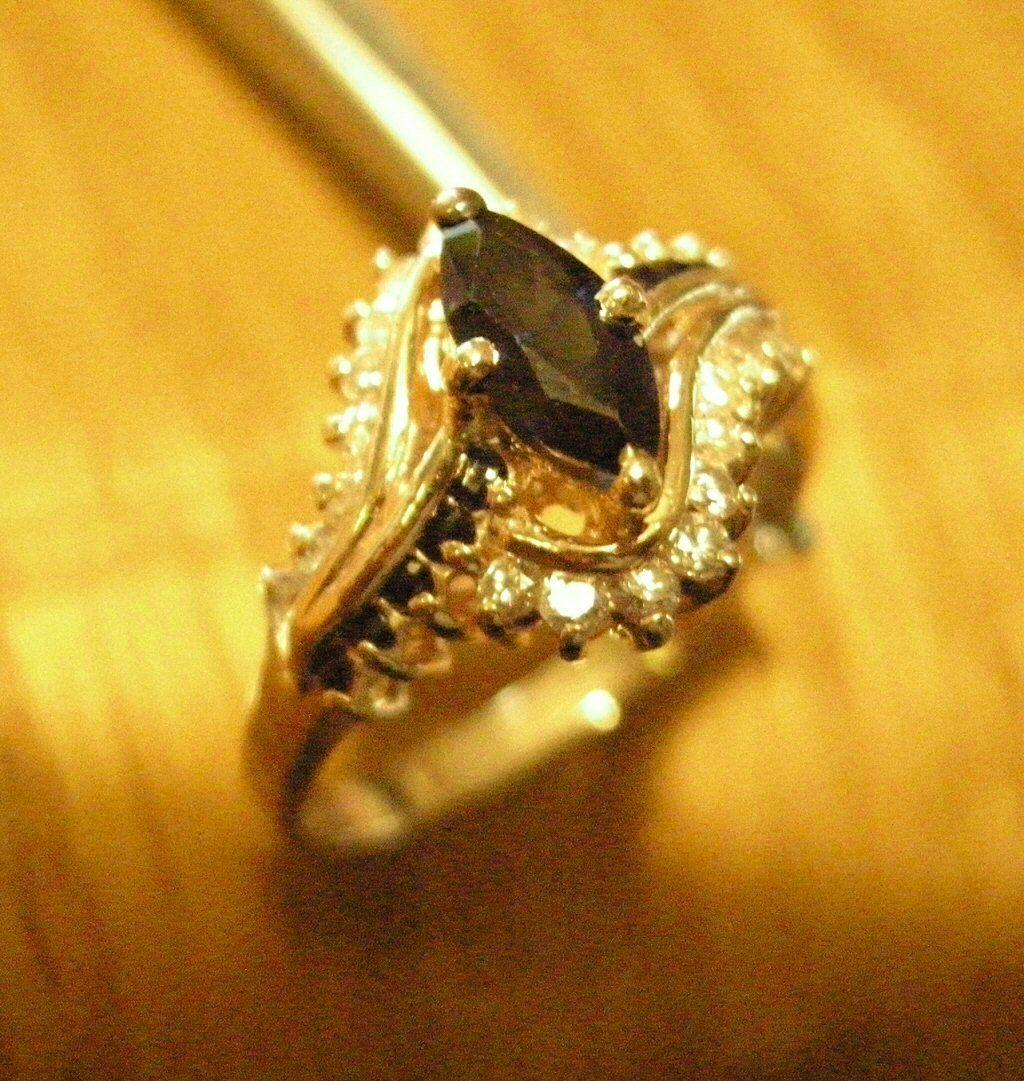 .75ctw Blue Sapphire Diamond 14k YG Ring