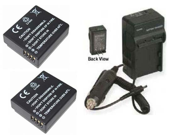 TWO 2 Batteries + Charger for Panasonic DMCGF3P DMC-GF3T DMC-GF3KK DMC-GF3KT