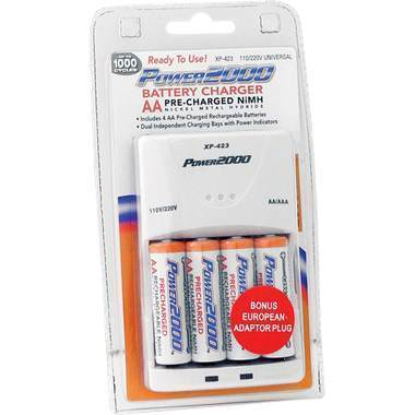Power2000 4 Pack AA 2300mAh Battery + Charger Pre-Charged