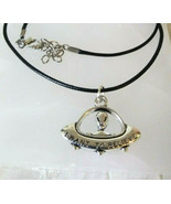 Necklace with UFO Pendant I want to Believe Black Cord Men Women Gift Ideal - $9.89