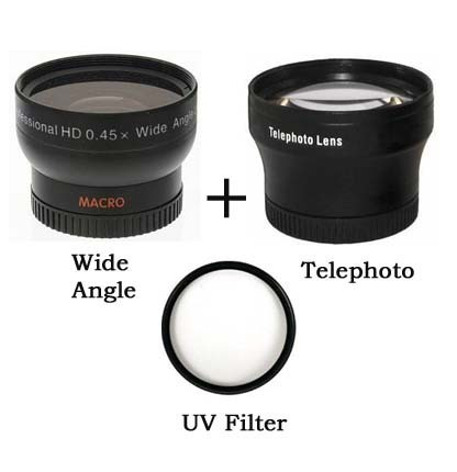 52mm Wide angle Lens + Telephoto lens + UV Filter Kit