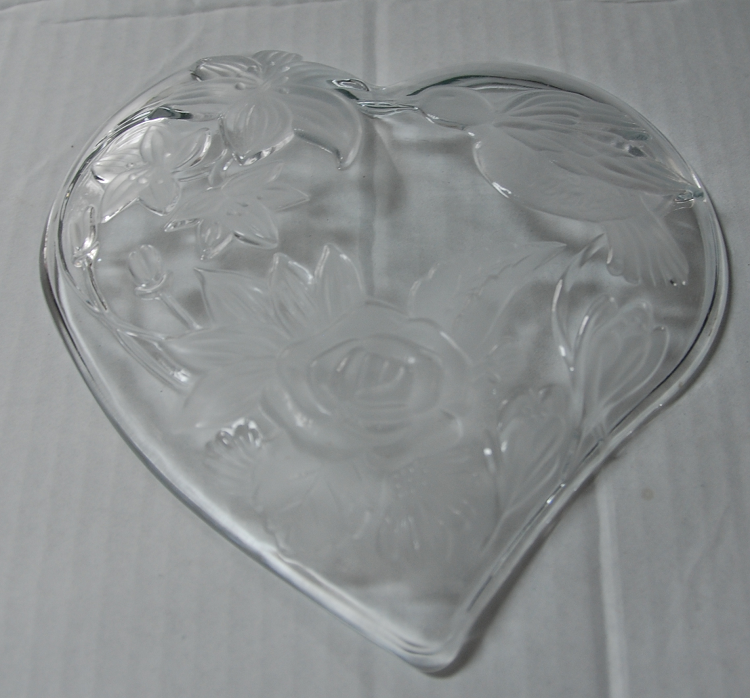 Cut Glass Heart Shaped Dish