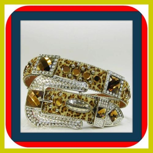 XS S M L Leopard Amber Sq Rhinestone Leather Western Buckle Cowgirl Rodeo Belt