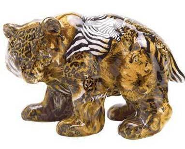 Patchwork Animal-Print Bear Figure
