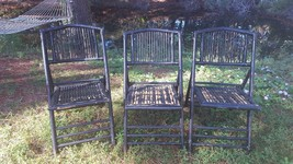 Vintage Mid Century Black and Tortoise Bamboo Folding Chairs (3) - $77.50