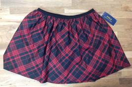 Ralph Lauren Girls' Plaid Pull-On Skirt, Red/Black, Size XL(16), MSRP $49.5 - $23.75