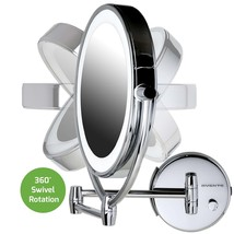 Makeup Wall Mount LED Lighted Vanity Mirror 1x/10x Magnification Cordles... - $111.18