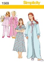 SIMPLICITY 1569 CHILD'S AND GIRL'S SLEEPWEAR (SIZE 8-14) SEWING PATTERN - $13.48
