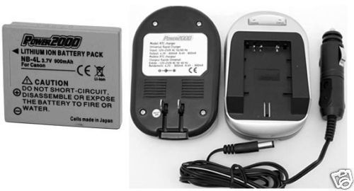TWO 2 Batteries + Charger for Canon SD1400 IS SD1000 IXUS i Zoom i7 30 40 50 55
