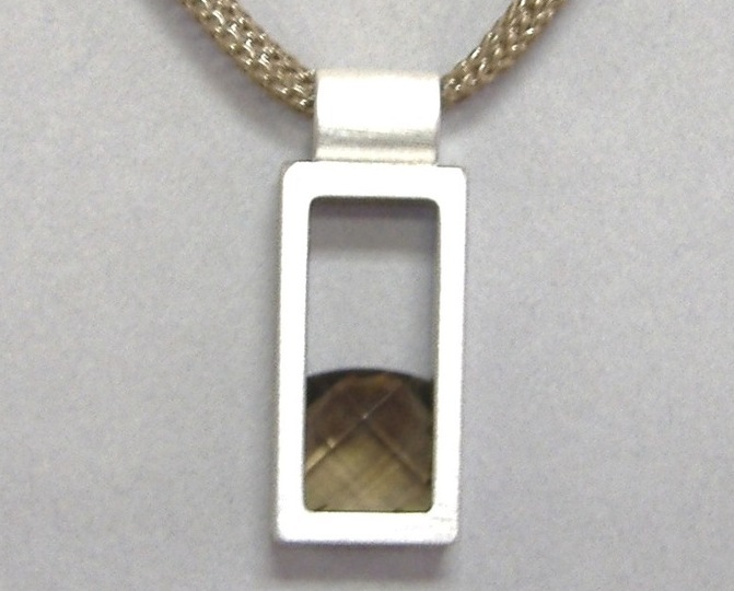 Square Smokey Quartz Stone Rectangle Pendant Sterling Silver Brown Necklace