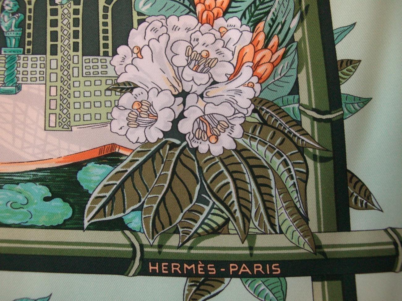Hermes scarf jardins d 39 hiver green pattern print for Jardin d hiver