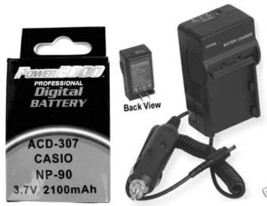 NP-90DBA Battery + Charger for Casio EX-FH100 EX-FH100BK EX-H15 - $20.11