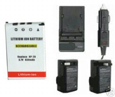 TWO 2 NP-20DBA Batteries + Charger for Casio EX-S2 EX-S20 EX-S20U EX-S3 EX-S500