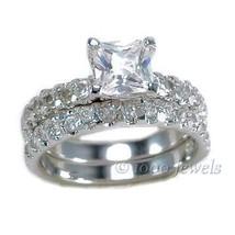 3.4c Princess Cut Russian Ice CZ Wedding Ring Set s 8 - $67.00