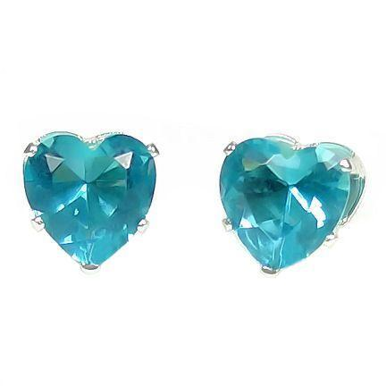 6mm Heart Cut Aquamarine Ice CZ Earrings 925 Silver
