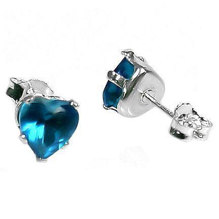 6mm Heart Cut Blue Zircon Post Stud Earrings 925 Silver