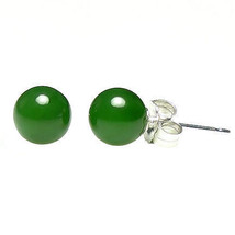 6mm Nephrite Green Jade Ball Stud Post Earrings Solid 925 Sterling Silver - $17.00