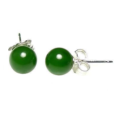 6mm Nephrite Green Jade Ball Stud Post Earrings Solid 925 Sterling Silver