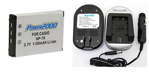 TWO 2 NP-70 Batteries + Charger for Casio EX-Z150RD EX-Z150SR EX-Z155 EX-Z155BK