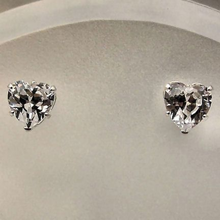 6mm Russian Ice CZ Heart Cut Stud Earrings 925 Silver