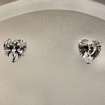6mm Russian Ice CZ Heart Cut Stud Earrings 925 Silver - $11.00