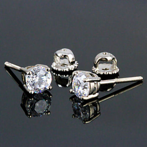 6mm Screw-Back Brilliant Cut Russian Ice CZ Stud Earrings 925 Silver 2.0 carats