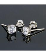 6mm Screw-Back Brilliant Cut Russian Ice CZ Stud Earrings 925 Silver 2.0... - $24.00