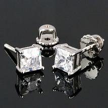 6mm Screw-Back Russian Ice CZ Stud Earrings 925 Silver Princess Cut 2.6 carats - $24.00