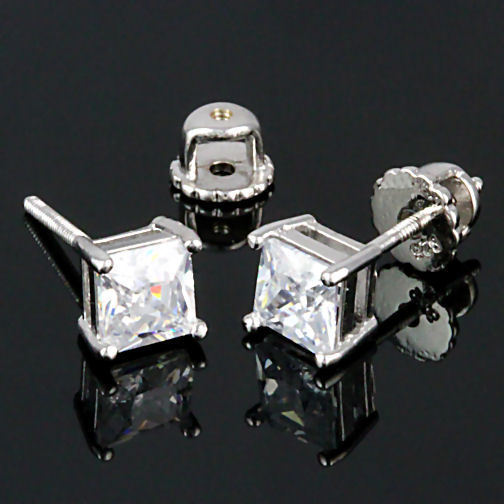 6mm Screw-Back Russian Ice CZ Stud Earrings 925 Silver Princess Cut 2.6 carats