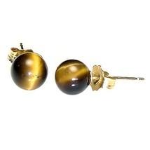6mm Tigers Eye Ball Stud Earrings 925 Sterling Silver - $12.00
