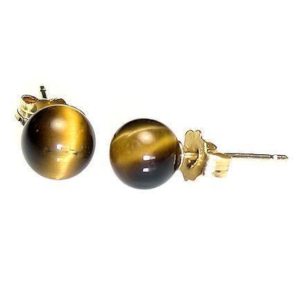 6mm Tigers Eye Ball Stud Earrings 925 Sterling Silver