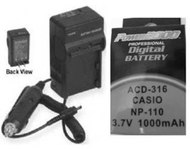Battery + Charger for Casio NP-110DBA EXZ2000SR EXZ2000RD EX-Z2300PE EX-... - $21.51