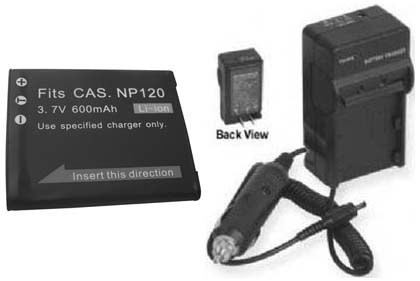Battery + Charger for Casio NP-120 NP120 NP-120DBA
