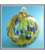 """Hanging Glass Ball 4"""" Diameter Lime, Blue & Tangerine Specks (1) GB40 - $14.85"""
