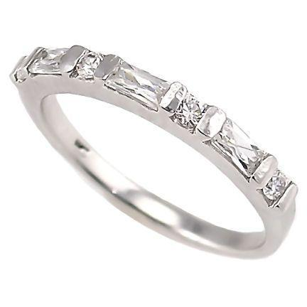 .72c Russian Ice CZ Stackable Band Ring 925 Silver sz 6