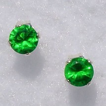 7mm 2.5ct created Emerald Stud Post Earrings 925 Silver - $11.50