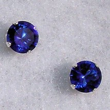7mm Ceylon Sapphire created Stud Earrings 925 SS 2.5ct - $11.50
