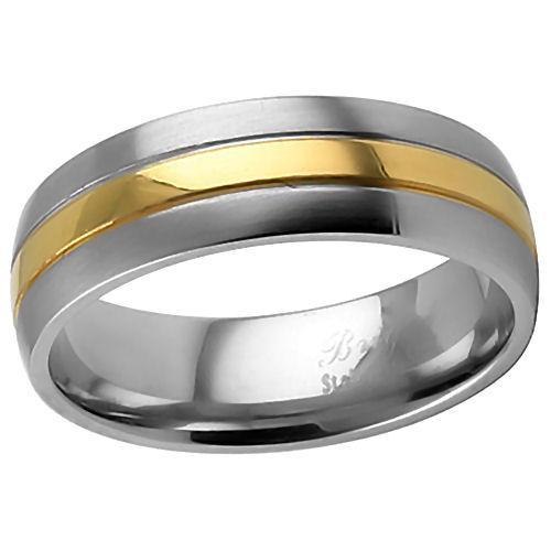 7mm Comfort Fit Stainless Steel & Gold Wedding Band s12
