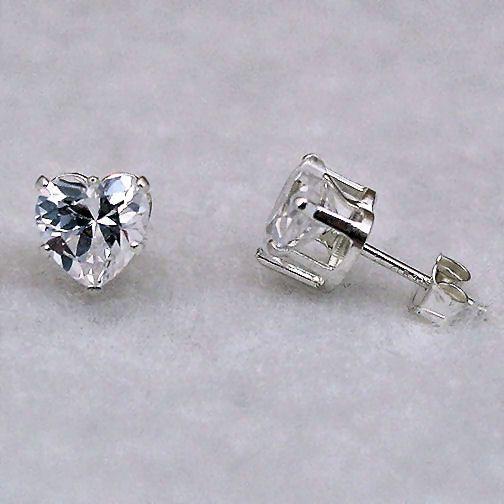 7mm Russian Ice CZ Heart Cut Stud Earrings 925 Silver